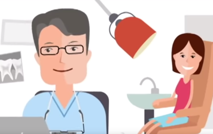 Cartoon of a dentist and a patient