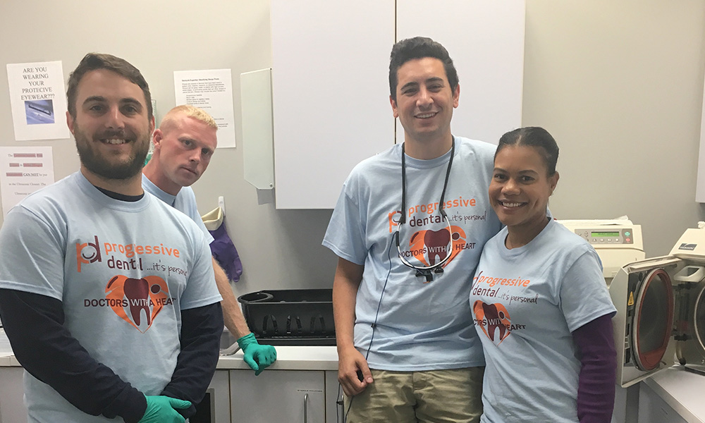 Progressive Dental employees working at Doctors with a Heart day