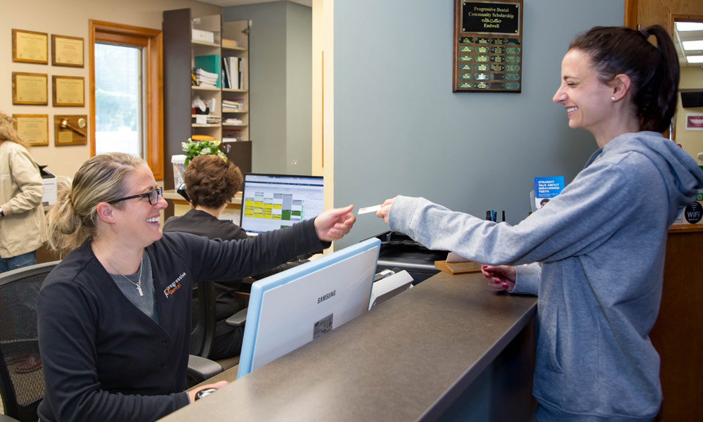 Welcoming a patient to the Progressive Dental office