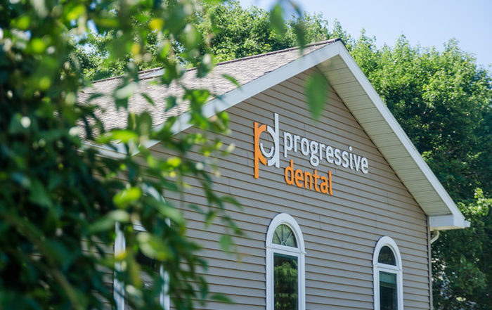Progressive Dental logo on the Endwell office building